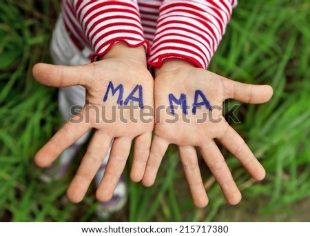 The word mom written in children's hands - stock photo