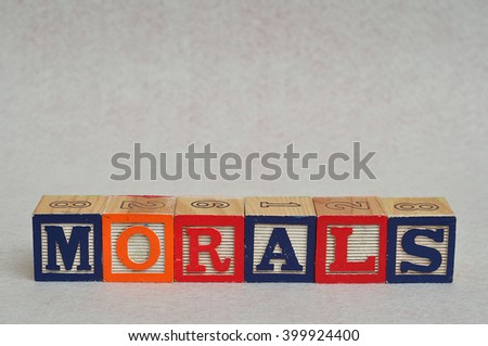 The word morals spelled with colorful alphabet blocks isolated on white background - stock photo