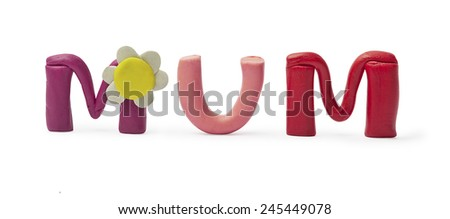 The word mother, fashioned from clay - stock photo