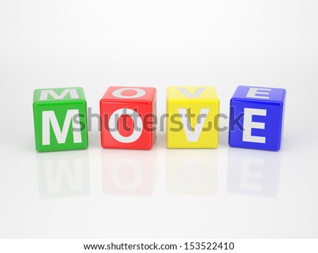 The Word Move out of multicolored Letter Dices