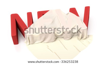 The word new covered in a silk fabric - stock photo