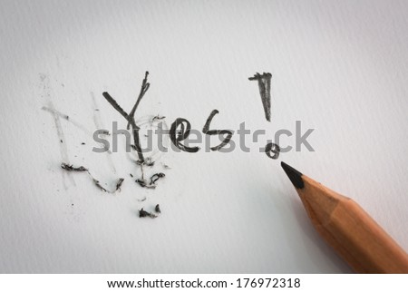 The word no is erased and change to word yes - stock photo