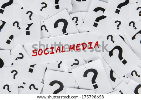 The word of Social Media surrounded by question marks - stock photo