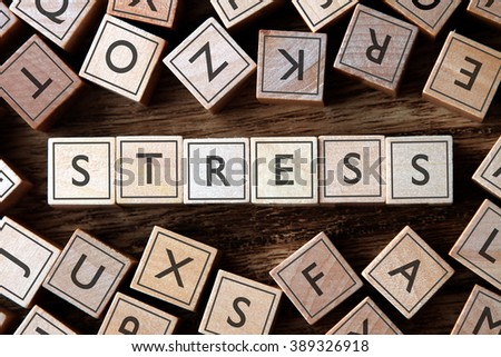 the word of STRESS on building blocks concept - stock photo