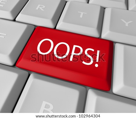 The word Oops on a red computer keyboard allowing you to catch a mistake and edit, correct or erase your error or wrong fact to make it right - stock photo