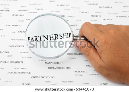 The word PARTNERSHIP is magnified.