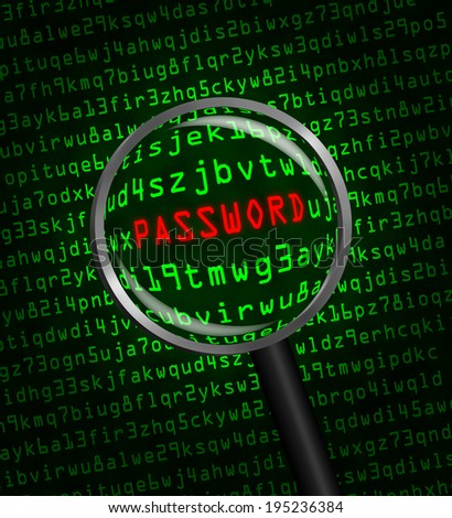 "The word ""PASSWORD"" in red revealed in green computer machine code through a magnifying glass  - stock photo"