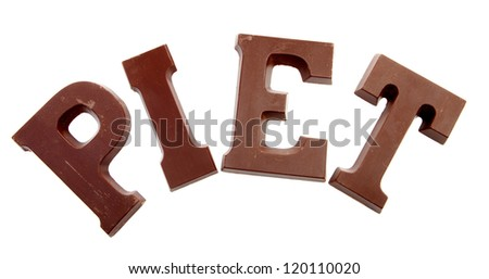 "The word ""PIET"" in chocolate letters isolated on white background, typical Dutch candy for Sinterklaas event in december - stock photo"