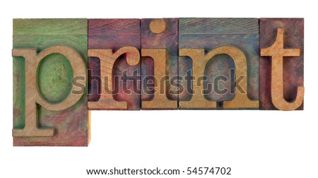 the word print in vintage wooden letterpress type blocks, stained by color ink, isolated on white - stock photo