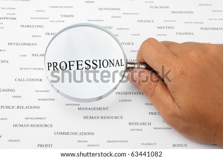 The word PROFESSIONAL is magnified.