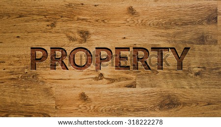 The word PROPERTY Engraved in Wooden Background. - stock photo