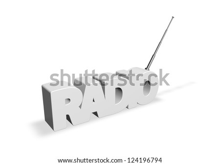 the word radio with antenna - 3d illustration - stock photo