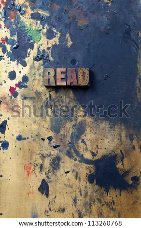 The word Read written in antique letterpress printing blocks. - stock photo