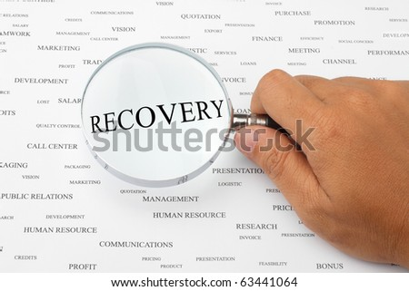 The word RECOVERY is magnified.