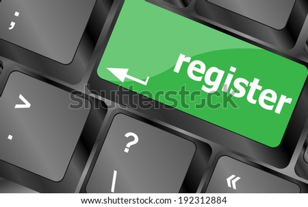 The word Register on a green computer keyboard key to illustrate e-commerce or signing up entering to join a new website, store, or attend an event - stock photo