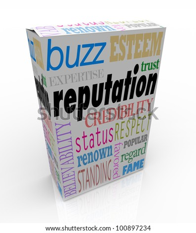 The word Reputation and many related terms such as credibility, status, esteem, regard, respect, buzz, believability and more -- on a white product box advertising you as a leader in your field - stock photo