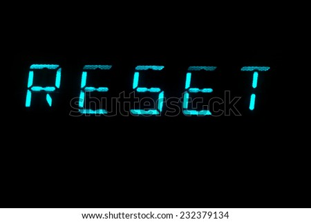 The word Reset in LCD lettering