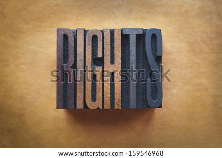 The word RIGHTS written in vintage letterpress type. - stock photo