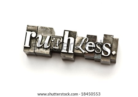 The word Ruthless photographed using vintage letterpress type