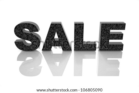 The word sale is made with black forms and abstract flowers.