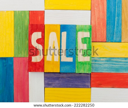 the word 'sale' using colorful cubes  - stock photo