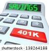 The word Savings on a calculator and 401K on a red button to illustrate financial security and building or investing in a nest-egg of money for the future - stock photo