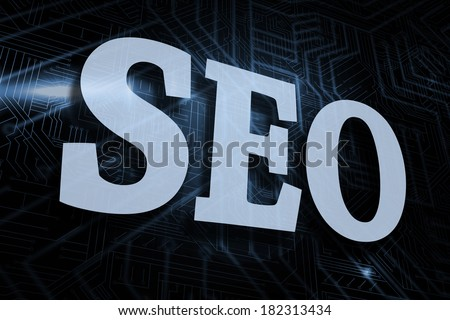 The word seo against futuristic black and blue background - stock photo