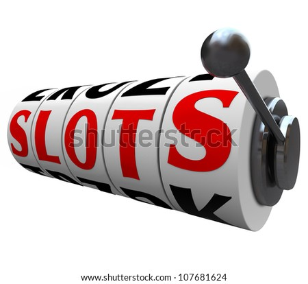 The word Slots on the spinning wheels of a casino slot machine, illustrating the risk and uncertain outcome of betting and gambling in games of chance - stock photo
