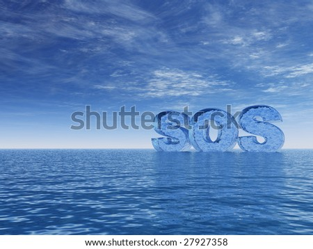 the word sos in water-letters on the ocean - 3d illustration