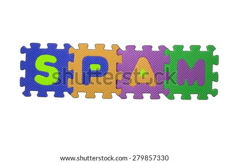 """The word """"SPAM"""" written with alphabet puzzle letters isolated on white background. Alphabet puzzle pieces on white background - stock photo"""