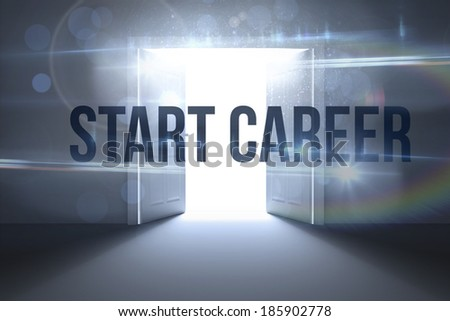 The word start career against doors opening revealing light - stock photo