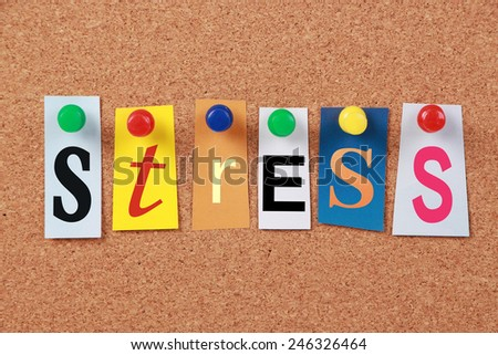 The word Stress in cut out magazine letters pinned to a cork board. - stock photo