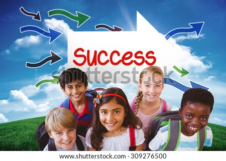 The word success and smiling little school kids in school corridor against green hill under blue sky - stock photo