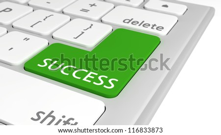 The word Success on a green computer key on a keyboard, with selective focus.