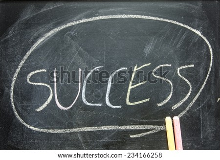 "The word ""SUCCESS"" written on blackboard  - stock photo"