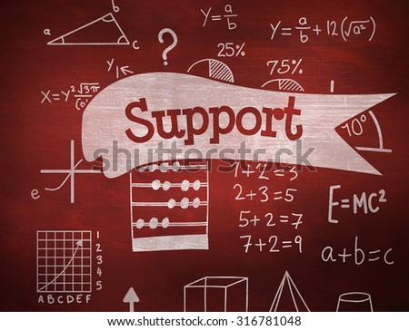 The word support and math against desk