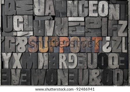 The word support written out in old letterpress blocks. - stock photo