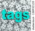 The word Tags on a background of hashtag symbols to illustrate message updates by topics to generate news or buzz for a person or event  - stock photo