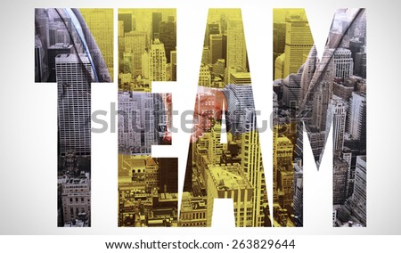 The word team and close up on two businesspeople shaking hands against high angle view of city - stock photo