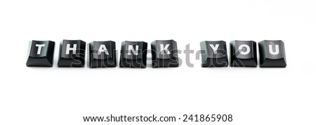 The word Thank You spelled out using keyboard buttons - stock photo