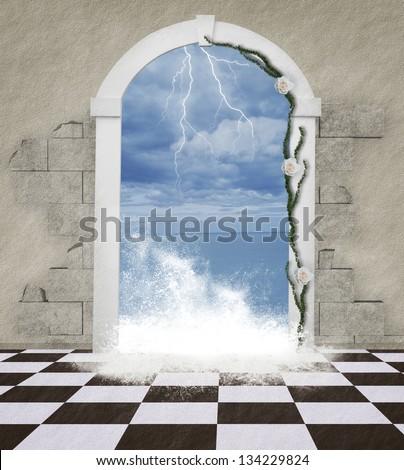 The word through the door - sea wave - stock photo