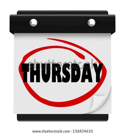 Calendar Thursday Stoc...
