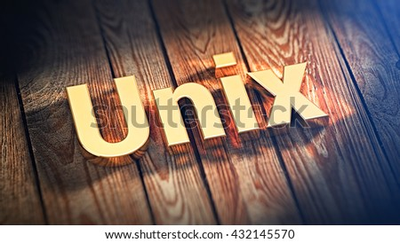 """The word """"Unix"""" is lined with gold letters on wooden planks. 3D illustration image - stock photo"""