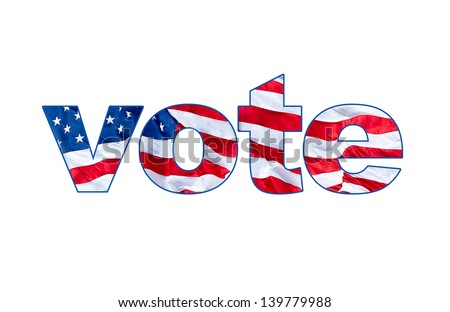 The word VOTE with a waving American flag embedded inside the letters - stock photo