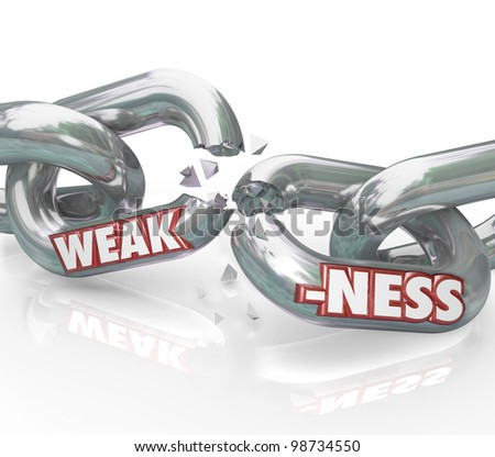The word Weakness on breaking, weak chain links symbolizing a lack of strength and ability, being vulnerable to outside forces or illness, driving you and your group apart - stock photo