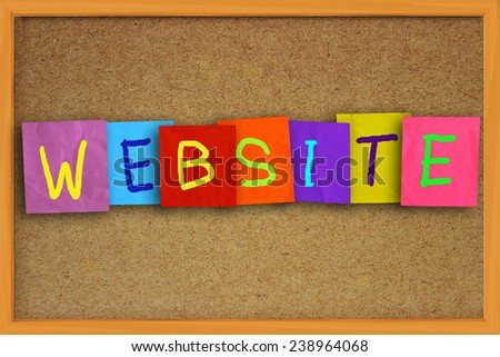 The word Website written on sticky colored paper over cork board - stock photo