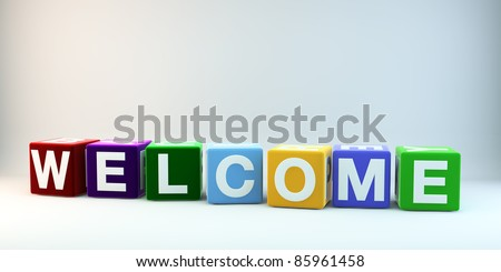 The word WELCOME in colorful cubes. - stock photo