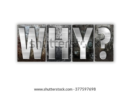 "The word ""Why"" written in vintage metal letterpress type isolated on a white background."