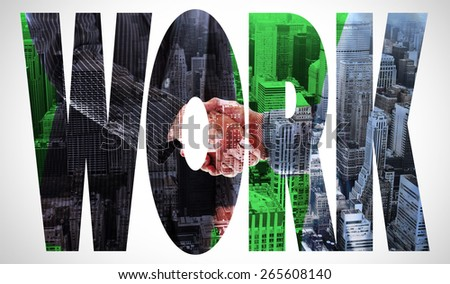 The word work and business people shaking hands against high angle view of city - stock photo