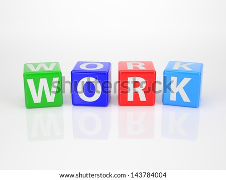 The Word Work out of multicolored Letter Dices